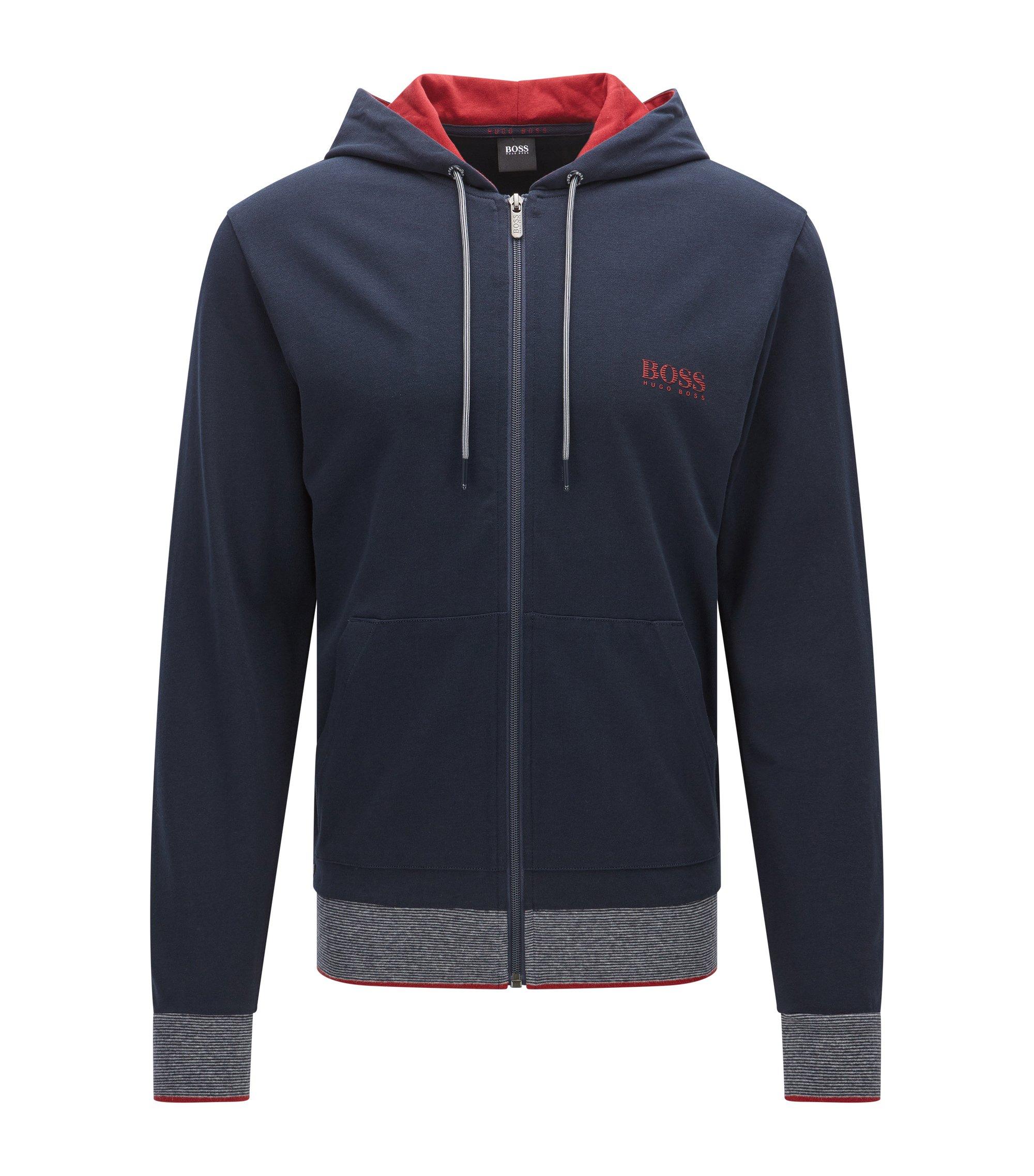 Regular-Fit Kapuzen-Sweatshirt aus Baumwoll-Jersey mit Reißverschluss, Dunkelblau