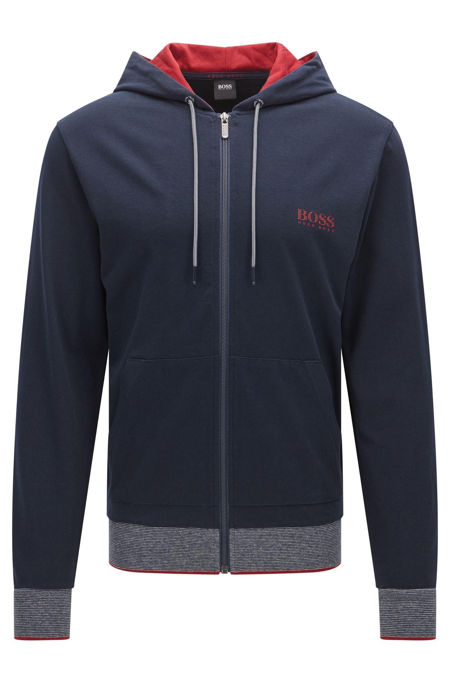 Regular-fit zip-through hooded sweatshirt in cotton jersey