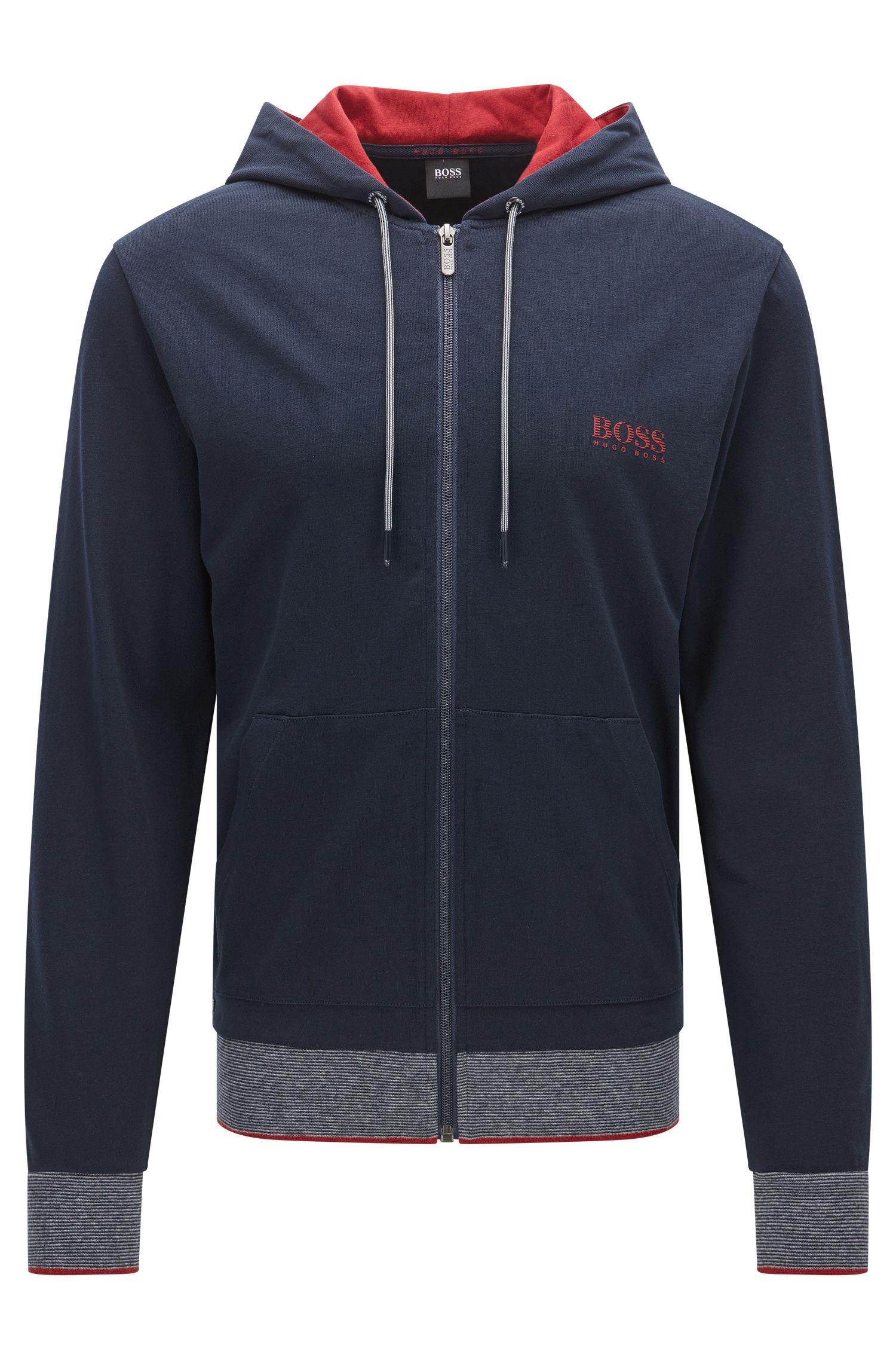 Regular-fit sweatshirt van katoenjersey met rits en capuchon