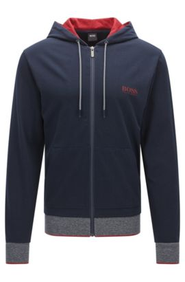 Regular-fit zip-through hooded sweatshirt in cotton jersey, Dark Blue