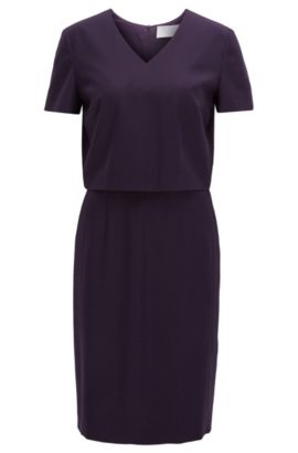 V-neck dress in a virgin wool mix, Dark Purple
