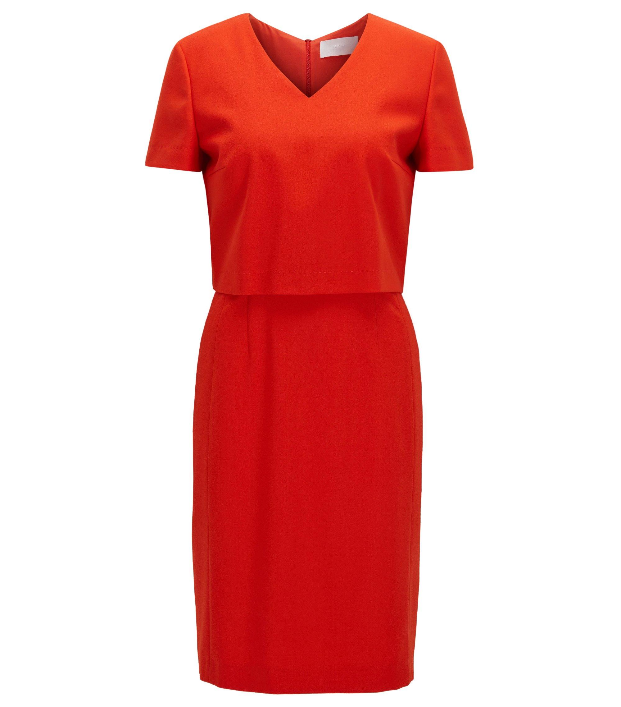 Regular-Fit Kleid aus Stretch-Schurwolle mit V-Ausschnitt, Rot