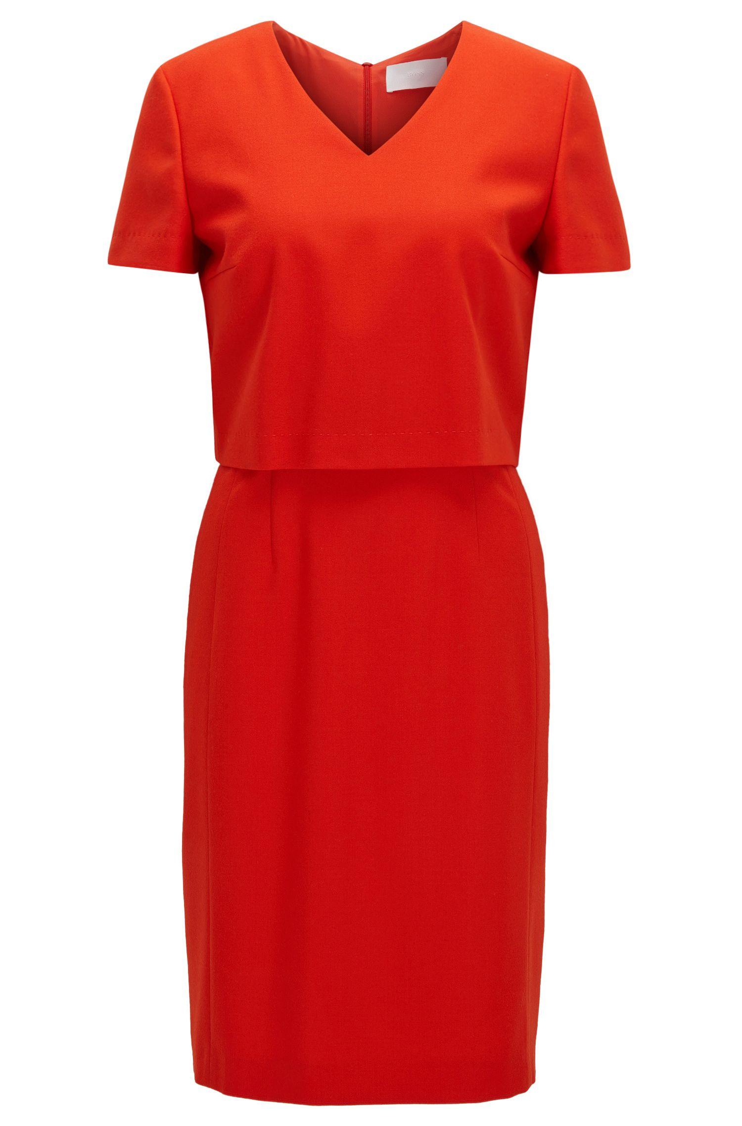 Regular-Fit-Kleid aus Schurwoll-Mix mit V-Ausschnitt