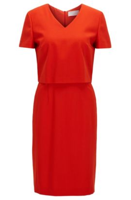 V-neck dress in a virgin wool mix, Red