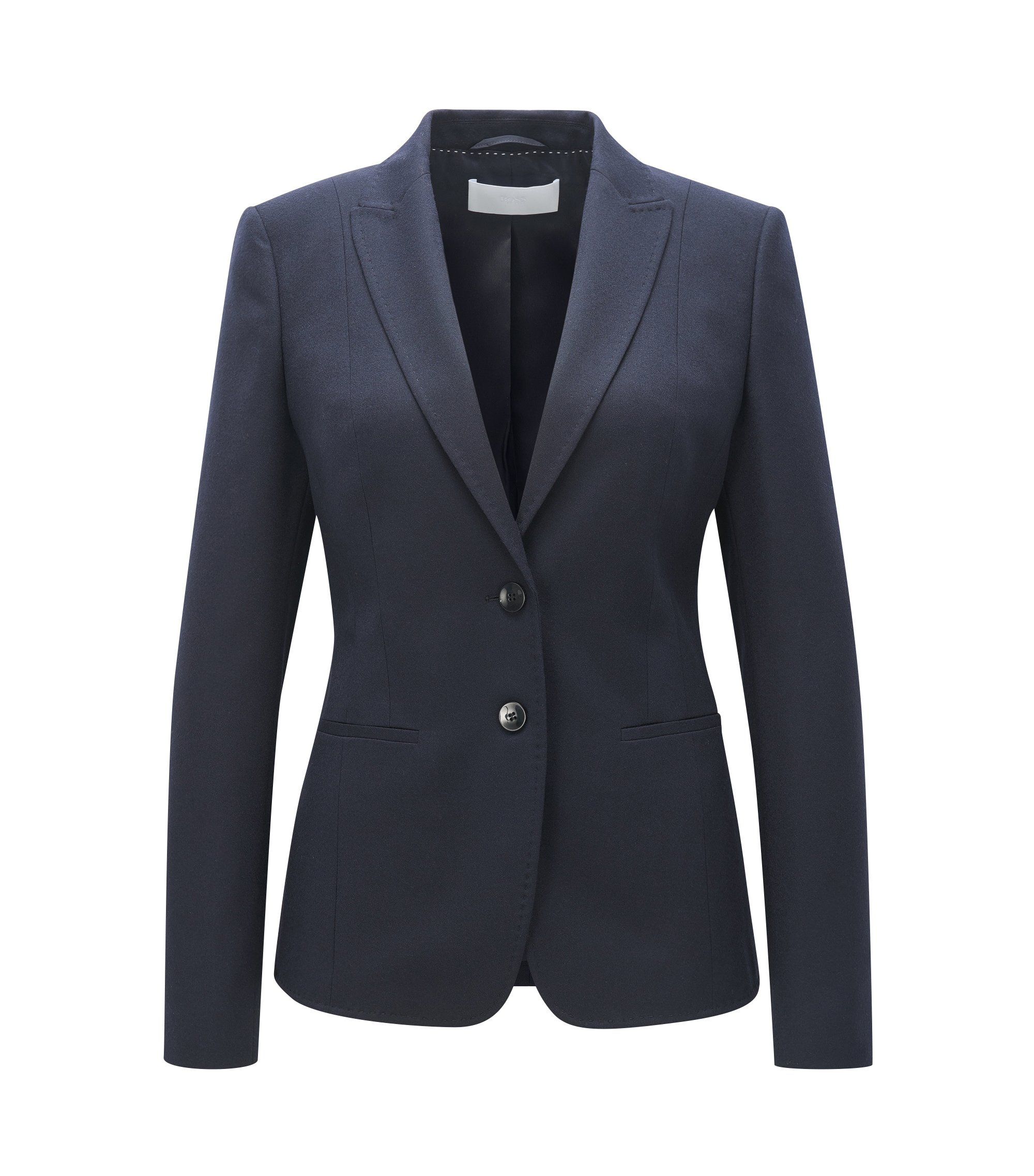 Regular-Fit Blazer aus Stretch-Flanell, Dunkelblau