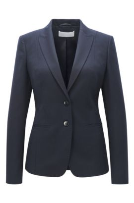 Virgin wool-mix jacket in a regular fit, Dark Blue