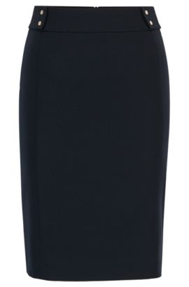 Pencil skirt in stretch virgin wool, Dark Blue