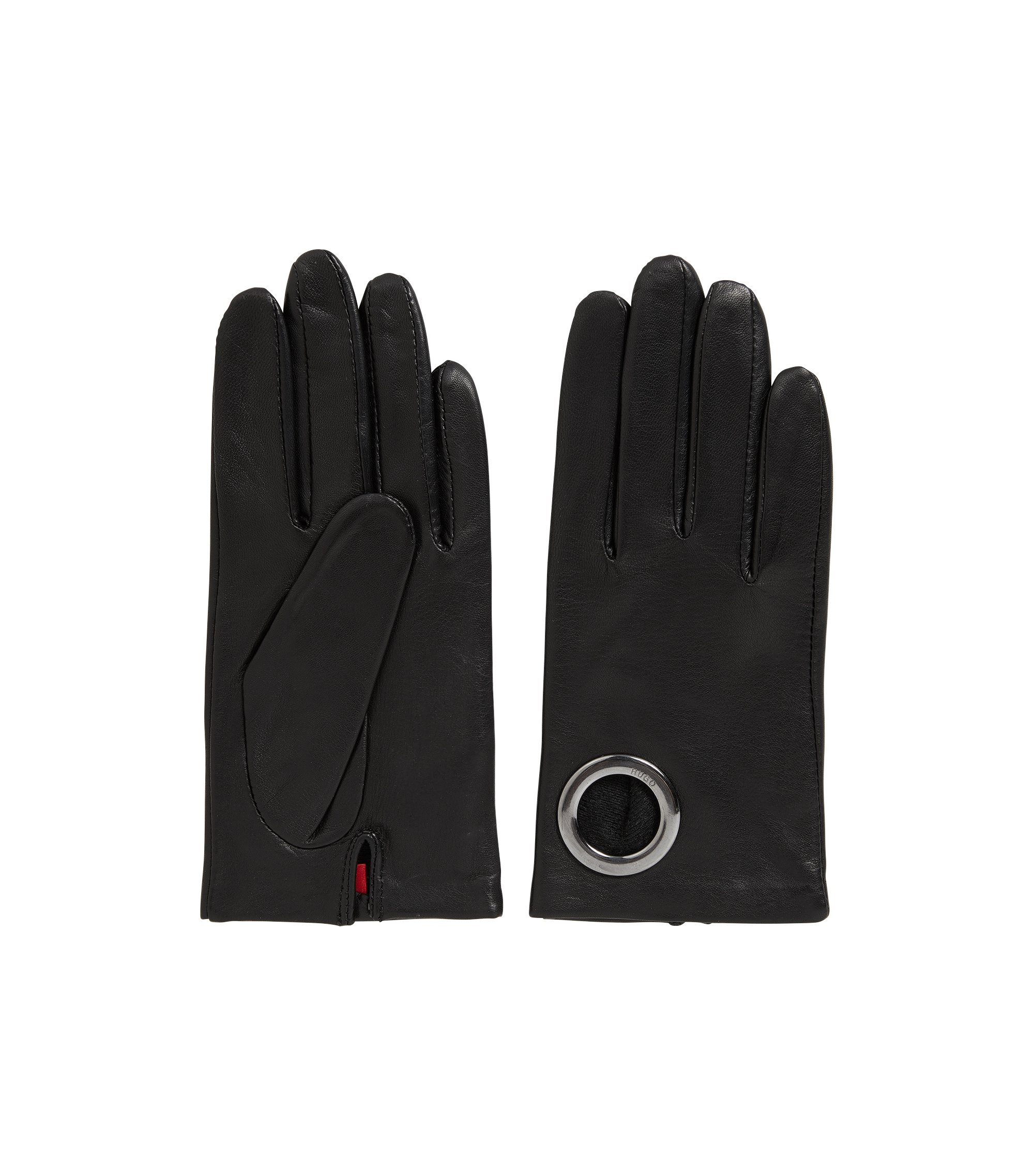 Leather gloves with ring detail, Black