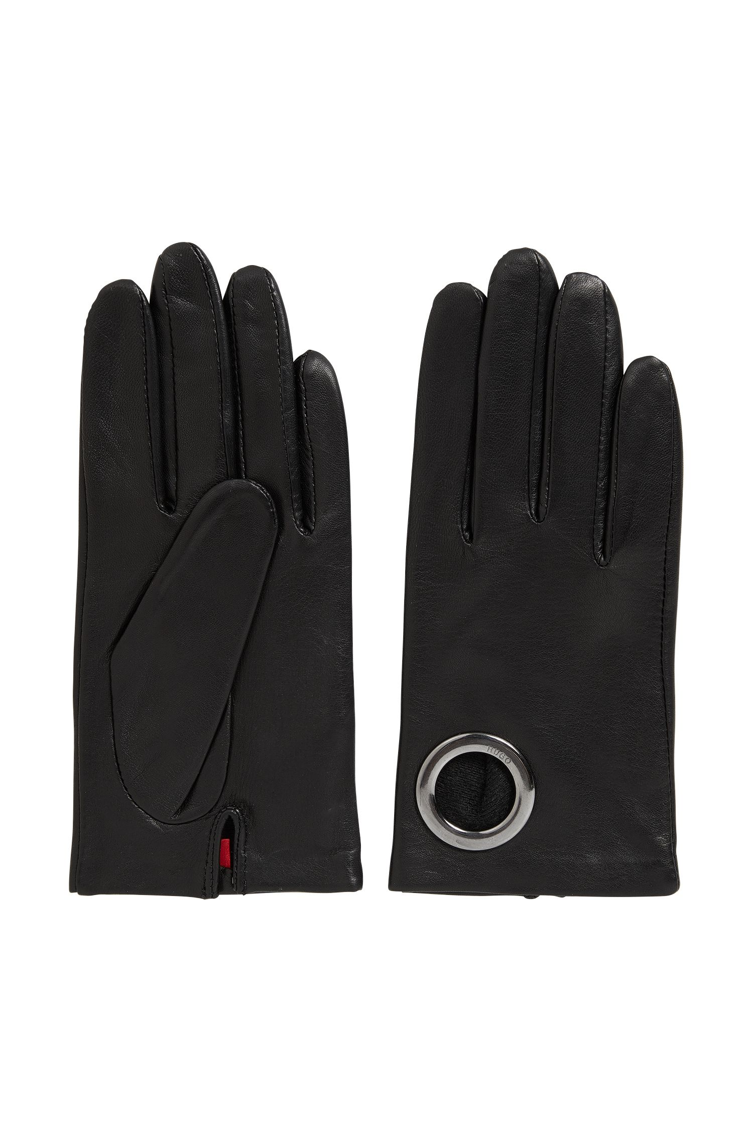 Leather gloves with ring detail