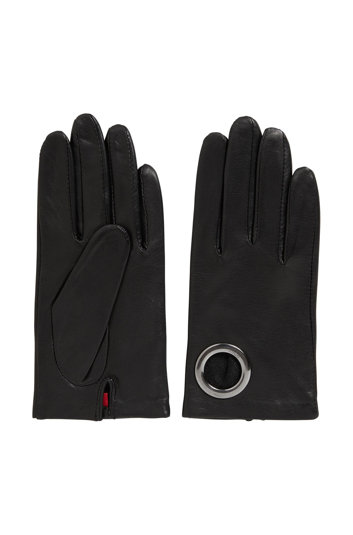 Leren handschoenen met ringdetail
