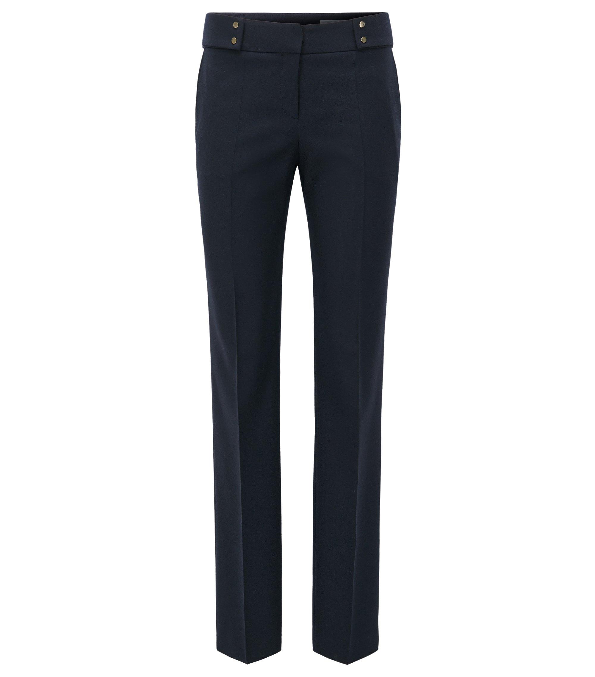 Pantalón de pierna recta en mezcla de lana, Azul oscuro