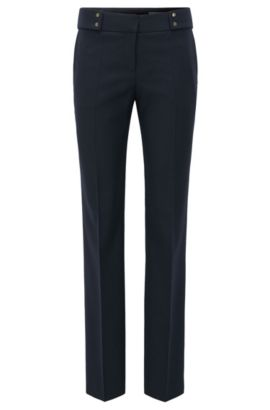 Straight-leg trousers in a wool mix, Dark Blue
