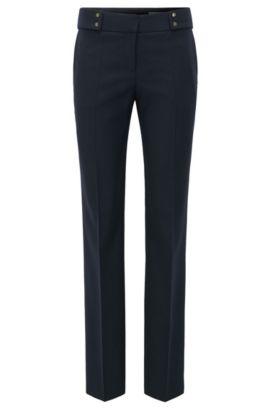 Pantaloni a gamba dritta in misto lana, Blue Scuro