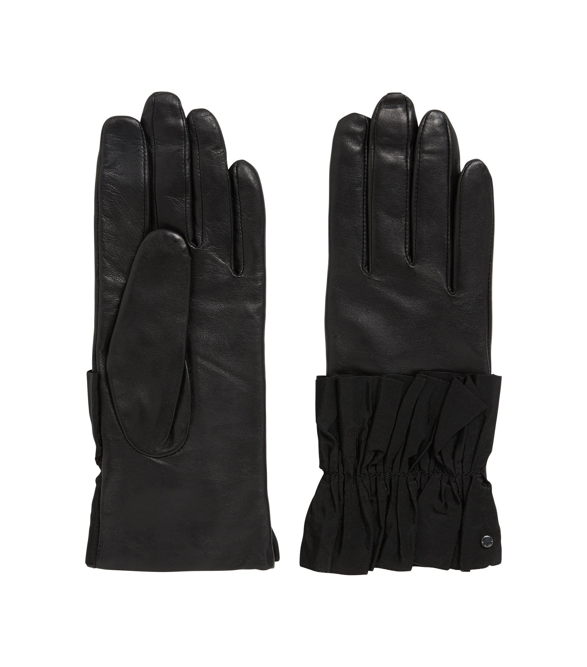 Lederhandschuhe mit gerüschten Bündchen, Schwarz