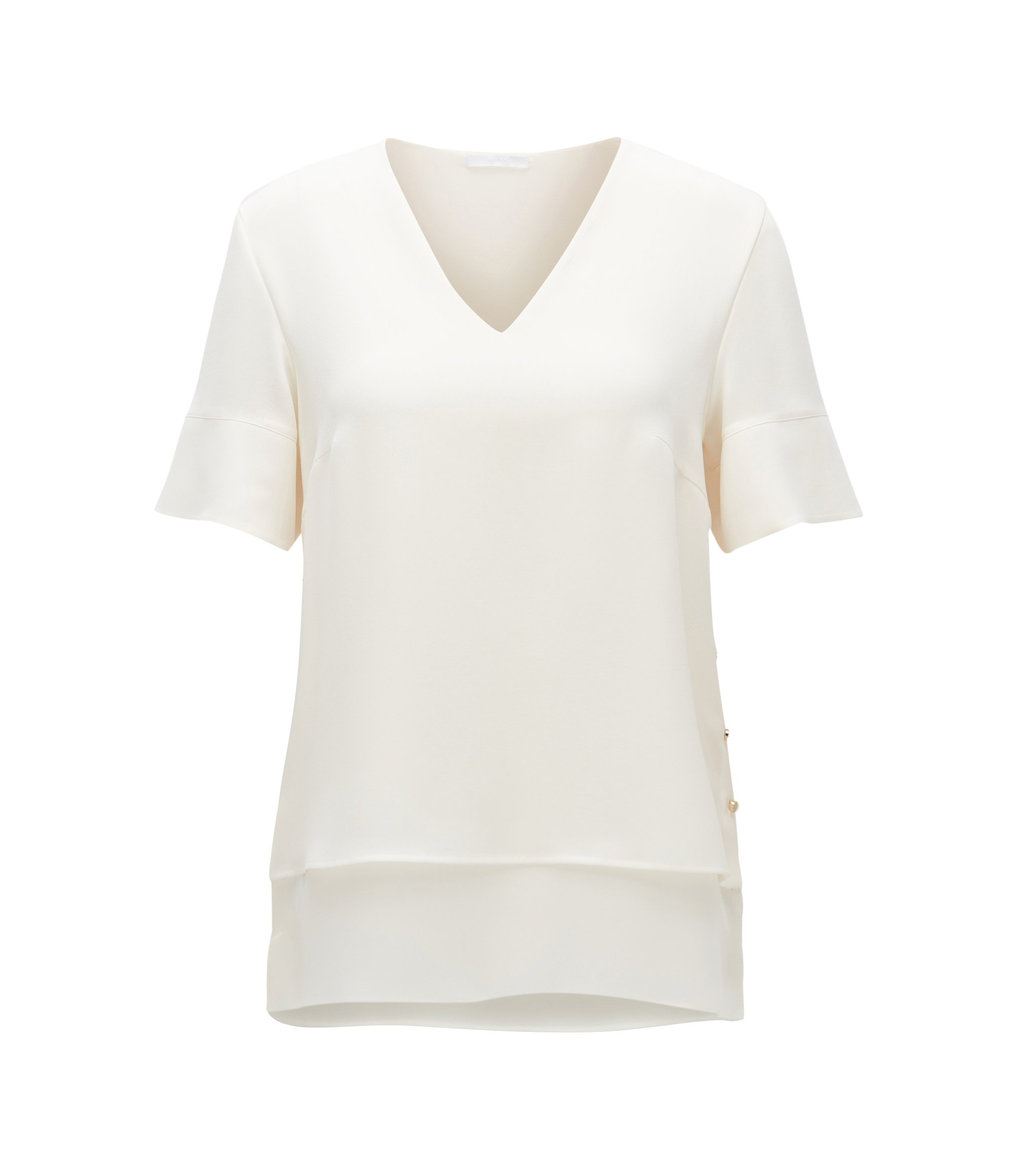 Regular-Fit T-Shirt aus Material-Mix im Lagen-Look, Natur