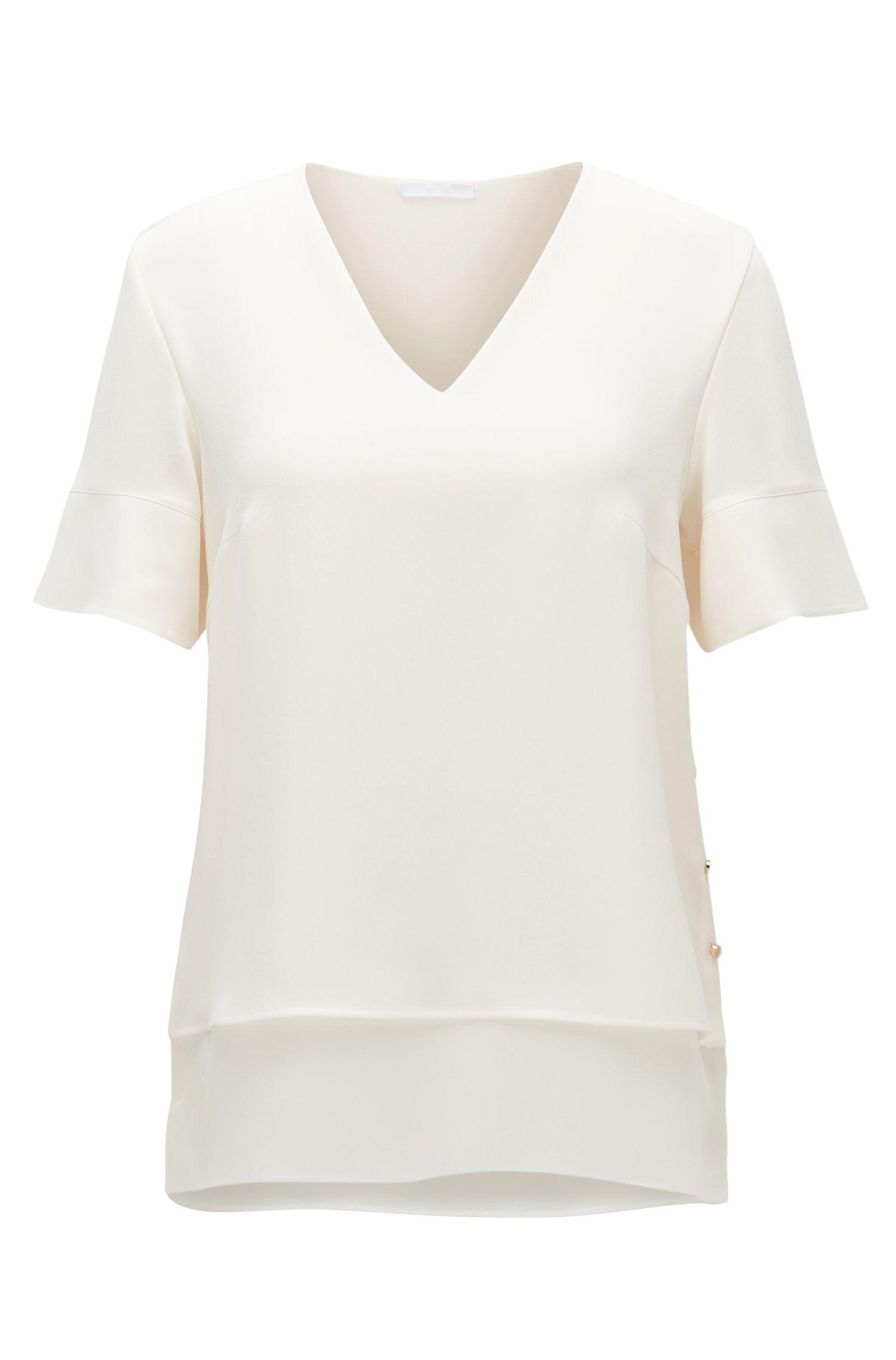 Dubbellaags T-shirt van vloeiend materiaal