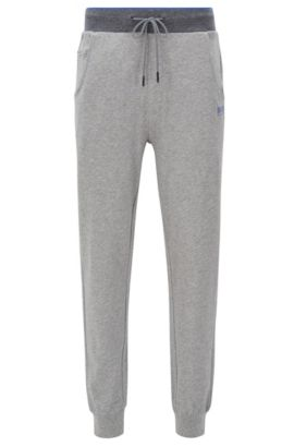Cuffed jogging bottoms in cotton jersey, Grey