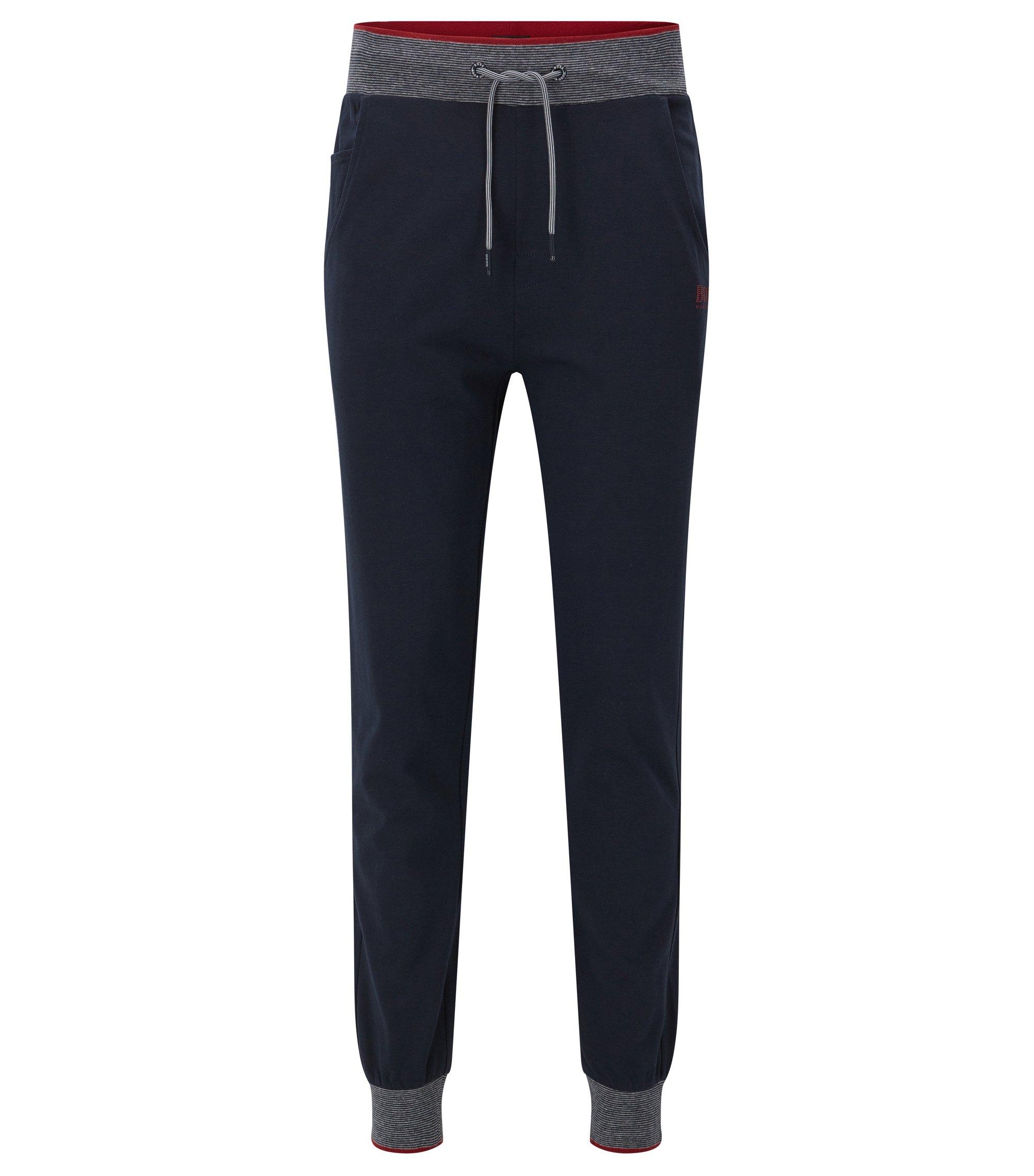Pantalones de chándal con puños en punto de algodón, Azul oscuro