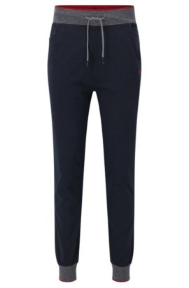 Cuffed jogging bottoms in cotton jersey, Dark Blue