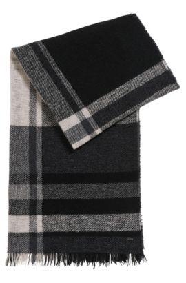 Écharpe à carreaux en maille bouclette de laine vierge mélangée, Fantaisie