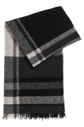 Bouclé virgin wool blend checked scarf, Bedrukt