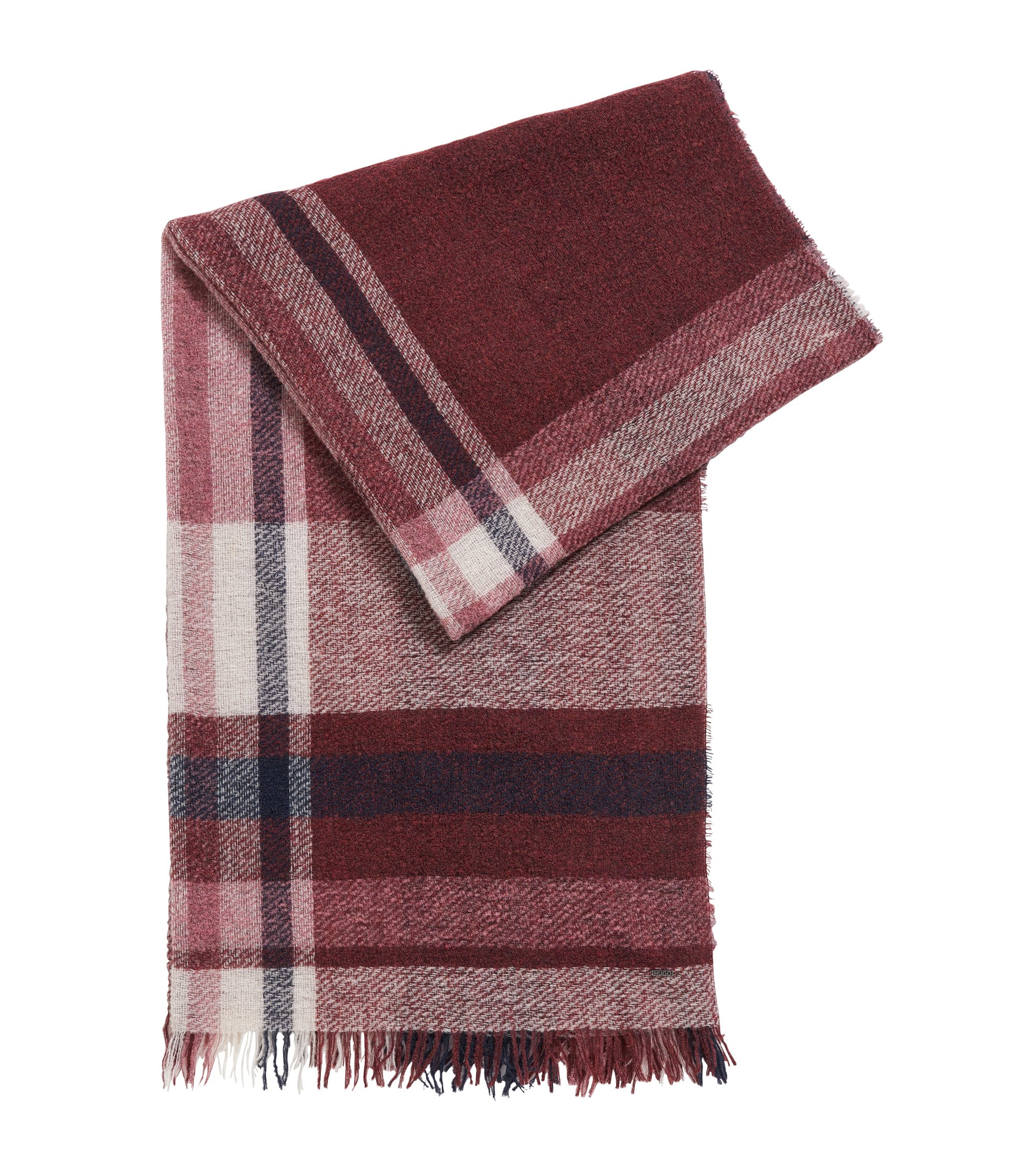 Bouclé virgin wool blend checked scarf, Patterned