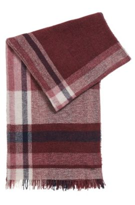 Bouclé virgin wool blend checked scarf, Fantaisie