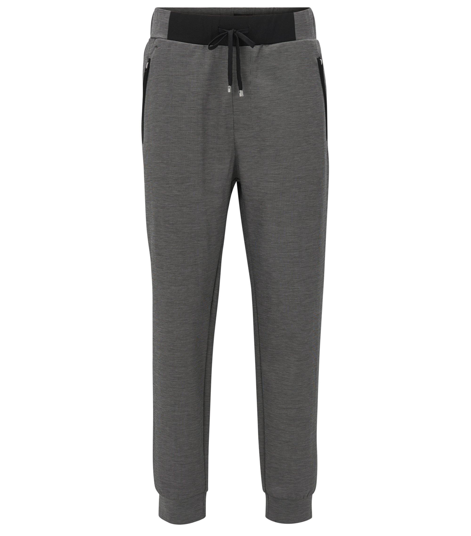 Pantalón loungewear con puños en piqué mercerizado, Negro