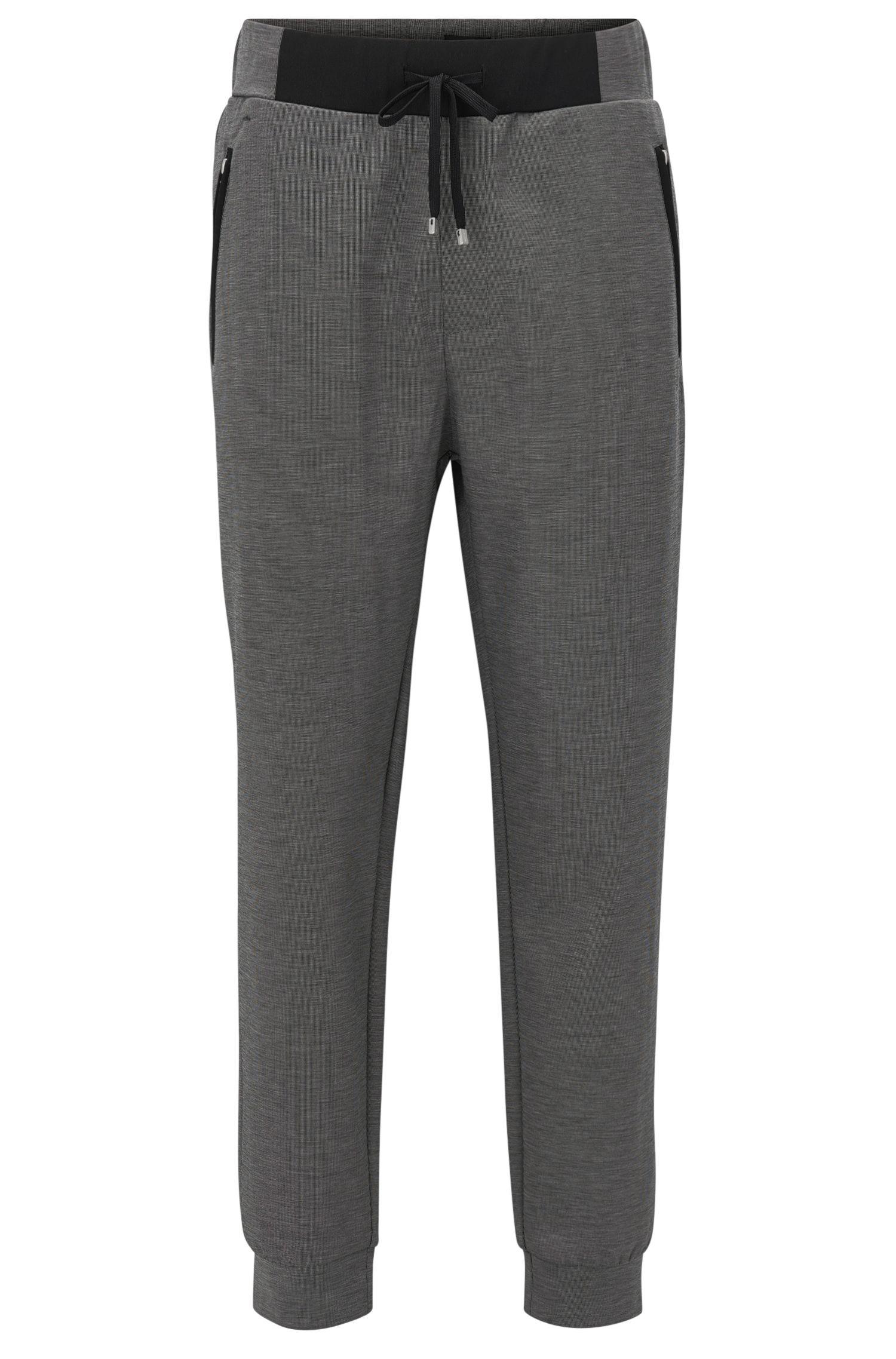 Pantalón loungewear con puños en piqué mercerizado