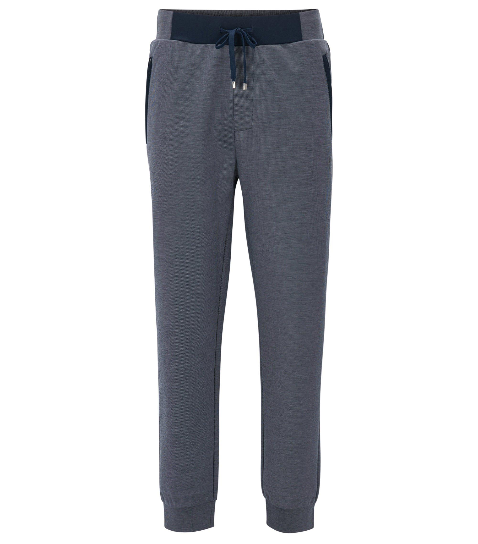 Cuffed loungewear bottoms in mercerised piqué, Dark Blue