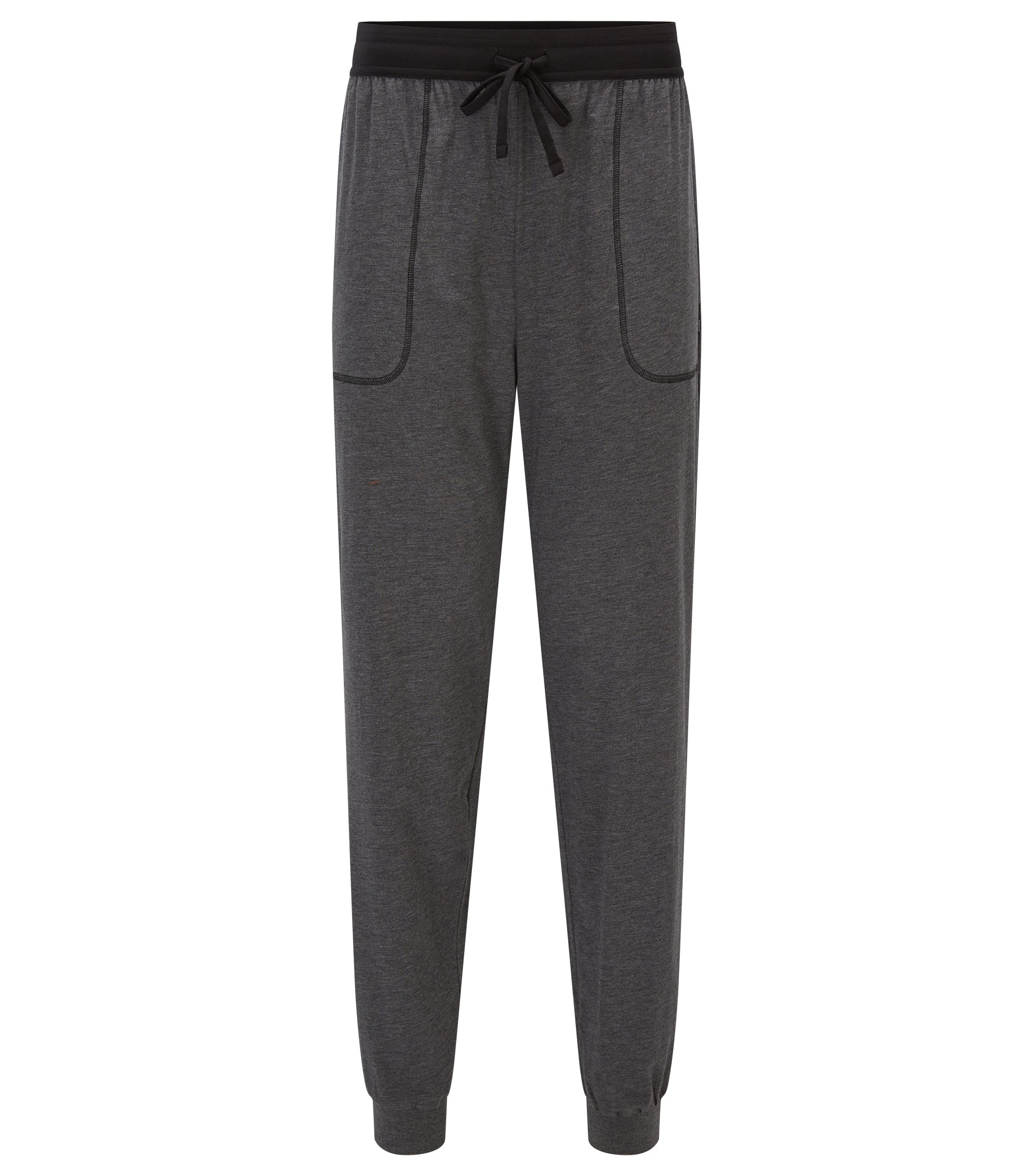 Pyjama trousers in cotton-blend jersey, Anthracite