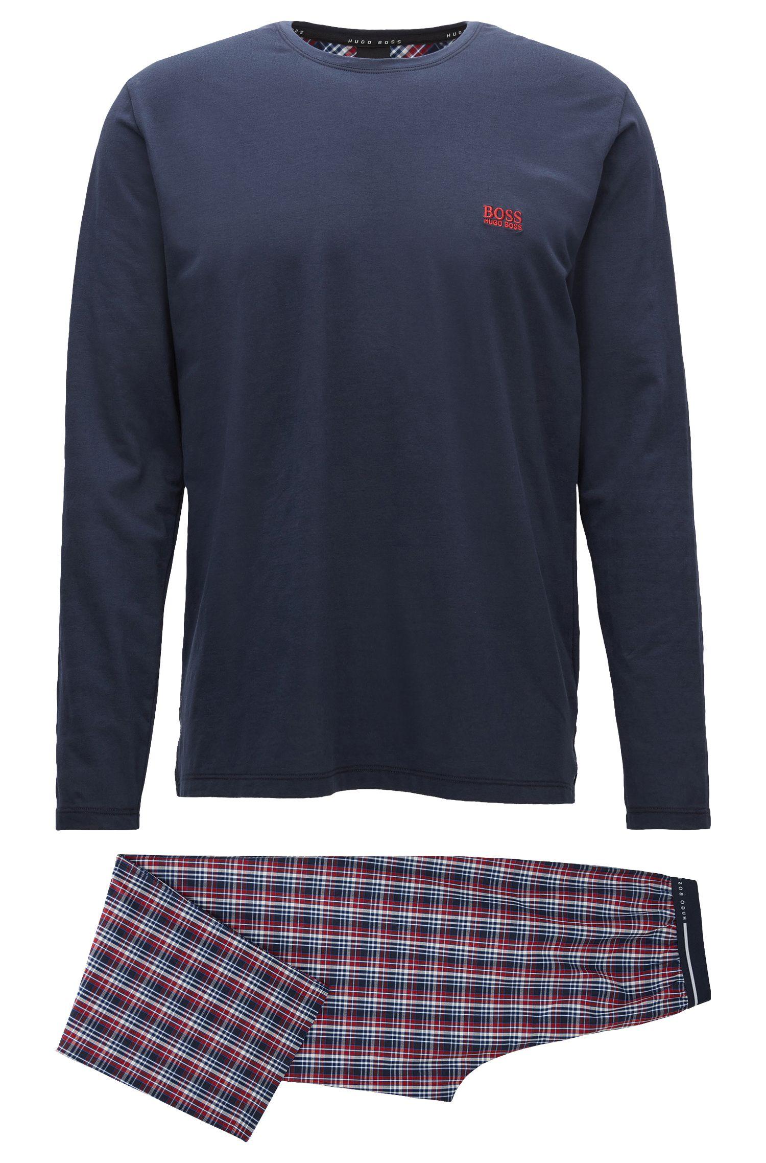 Regular-Fit Pyjama aus Baumwolle mit Kontrast-Details