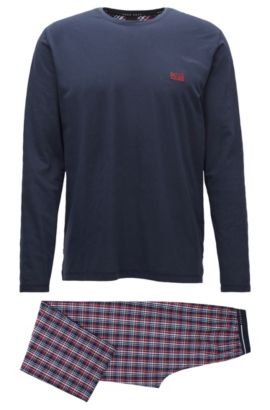 Pyjamaset van katoen met contrastdetails, Donkerblauw