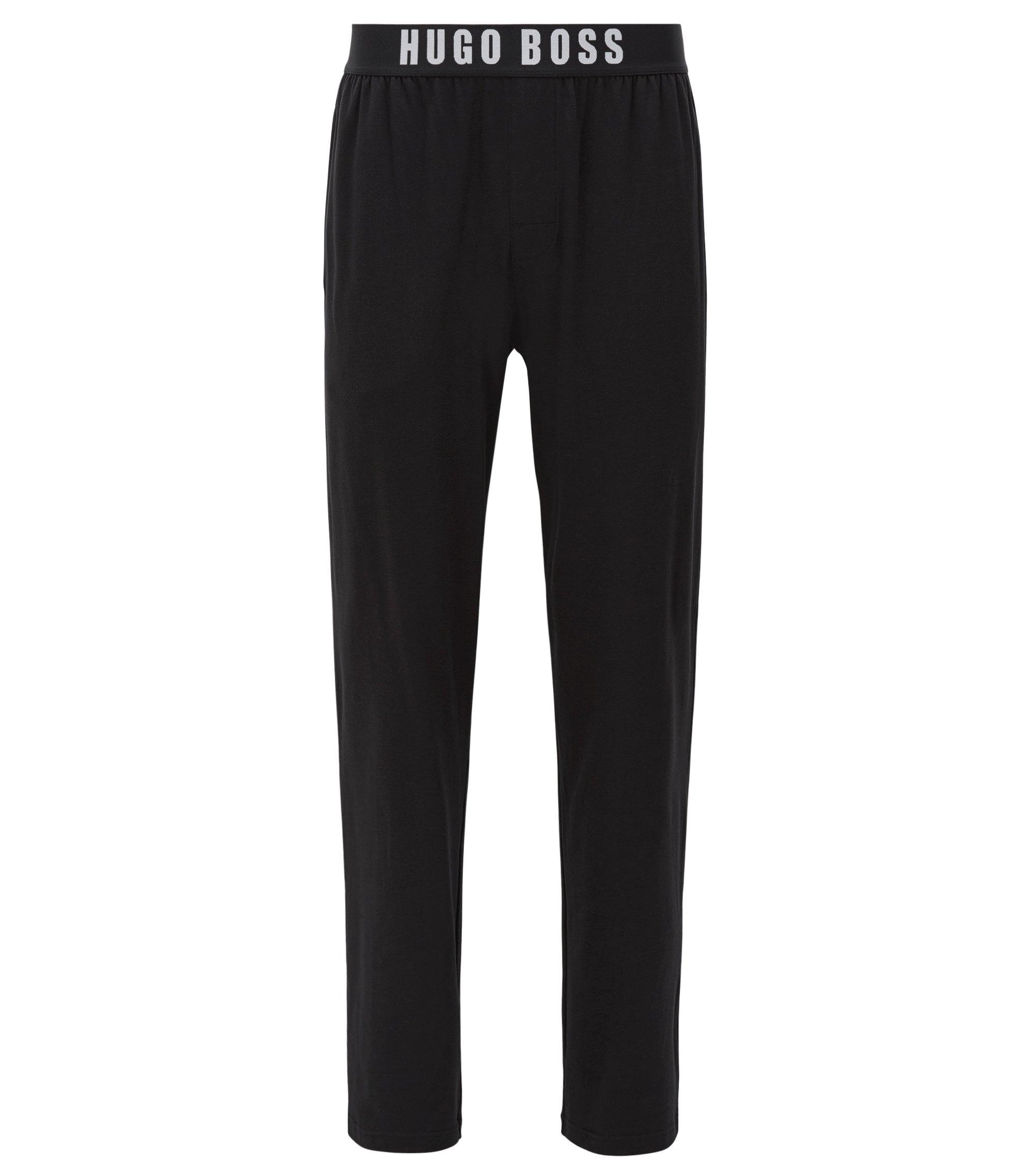 Pyjama-Hose aus Stretch-Baumwolle mit elastischem Bund, Schwarz