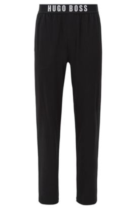 Stretch cotton pyjama bottoms with elasticated waistband, Nero