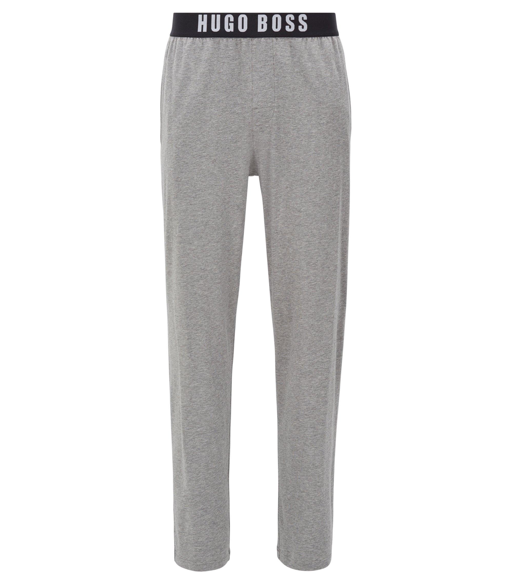 Bas de pyjama en coton stretch à taille élastique, Gris