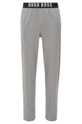 Pantaloni del pigiama in cotone elasticizzato con vita elastica, Grigio