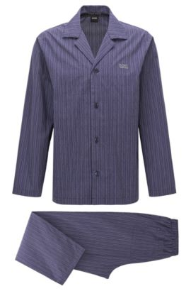 Striped pyjamas in cotton poplin, Dark Purple
