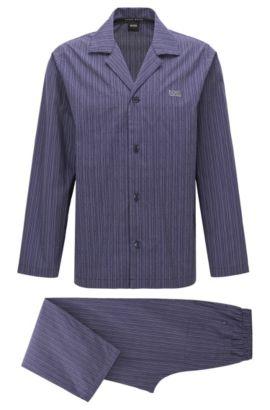Gestreepte pyjama van katoenpopeline, Donkerpaars