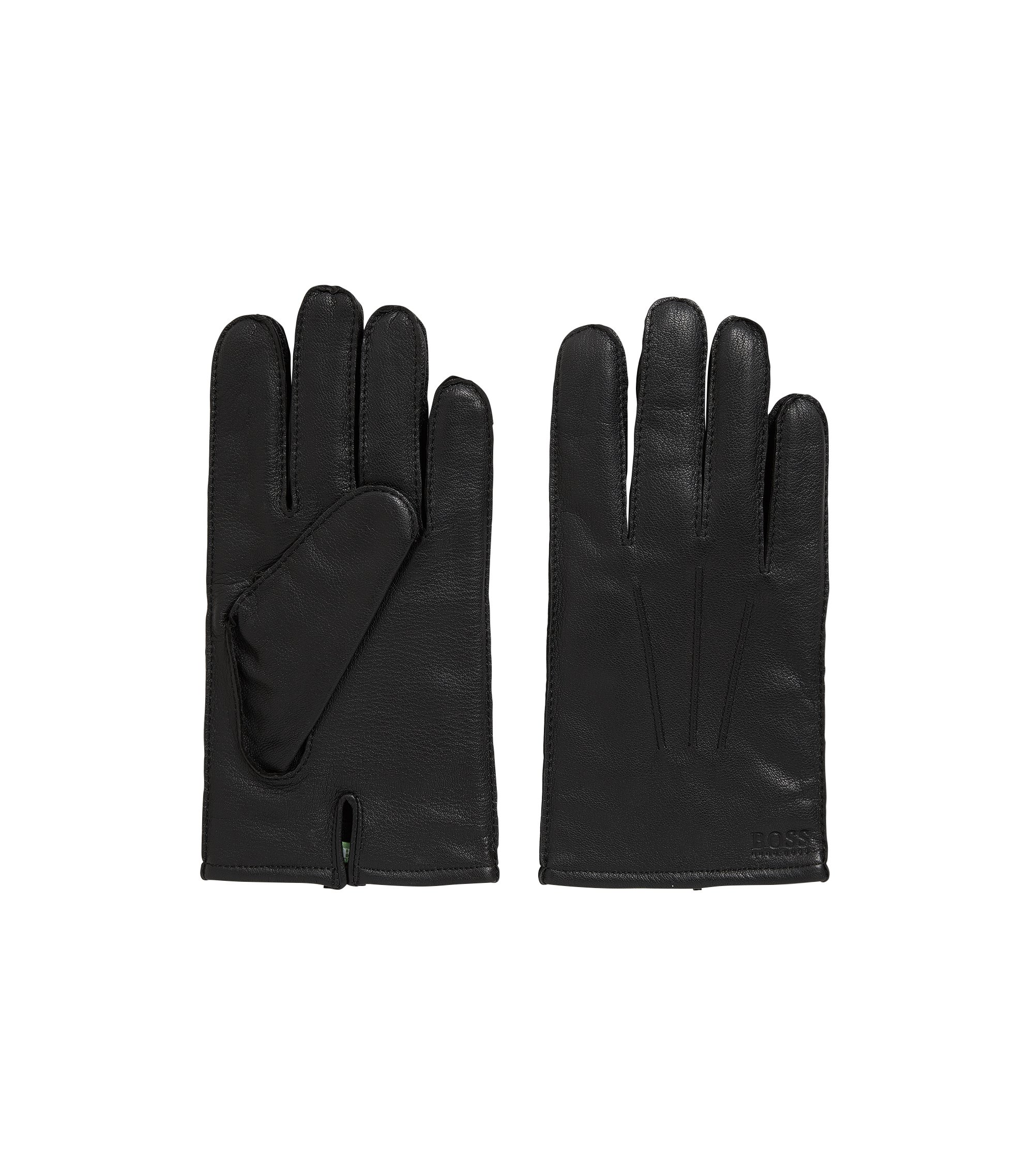 Lined gloves in nappa leather with split cuff, Black
