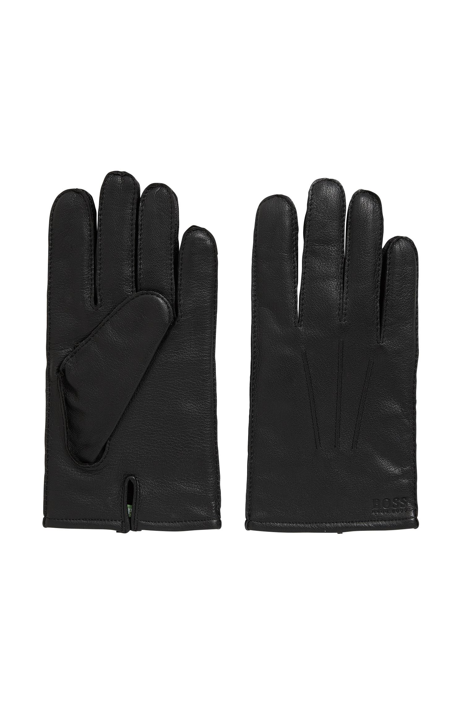 Lined gloves in nappa leather with split cuff