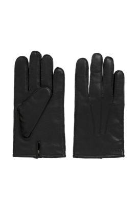 Gefütterte Handschuhe aus Nappaleder mit geteilten Bündchen, Schwarz