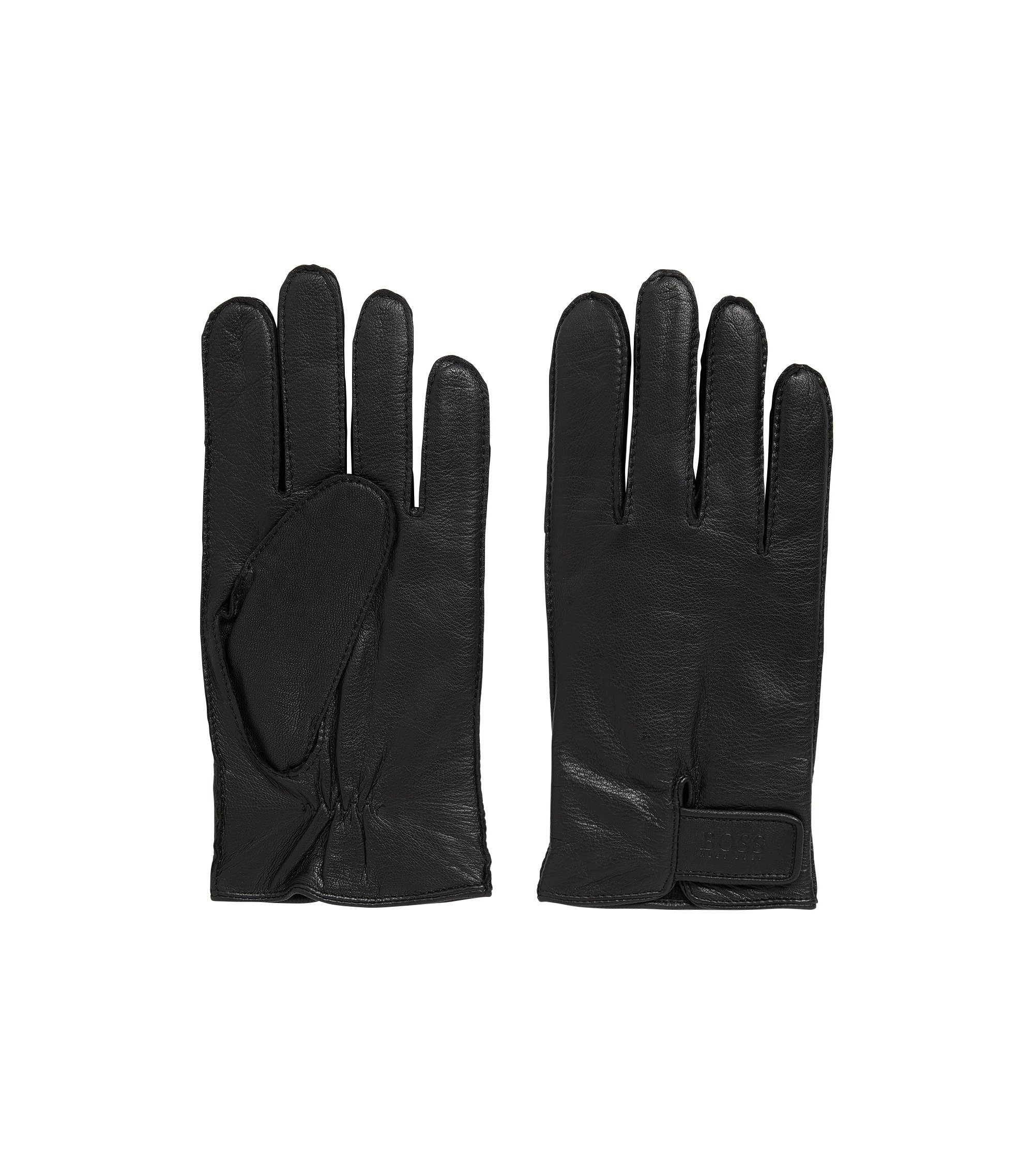 Nappa leather gloves with adjustable straps, Black