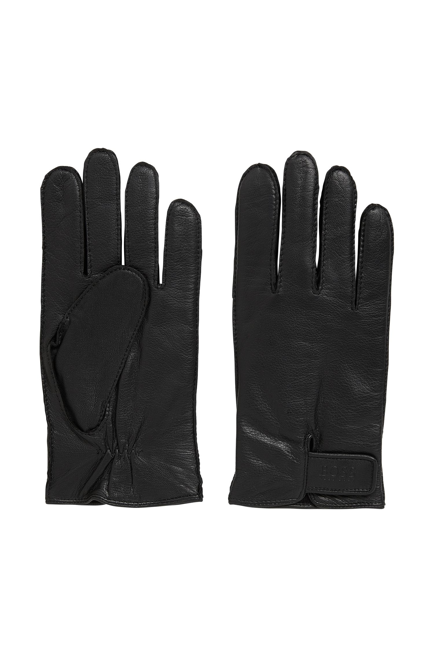 Nappa leather gloves with adjustable straps