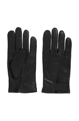 Guantes en piel de napa con correas ajustables, Negro