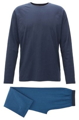 Pyjama set in brushed cotton, Dark Blue