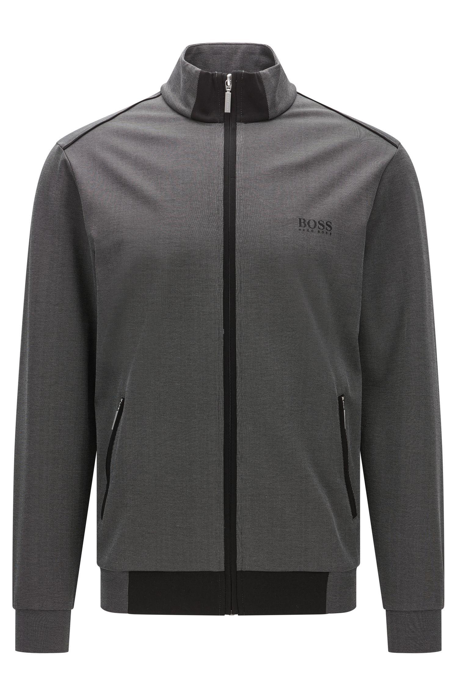 Zip-through jacket in mercerised piqué