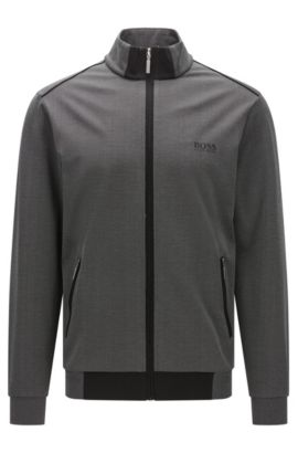 Zip-through jacket in mercerised piqué, Black