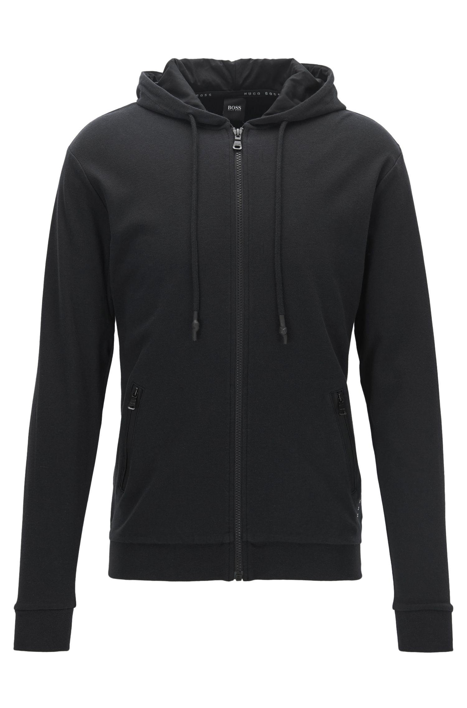Zip-through hooded jacket in interlock cotton