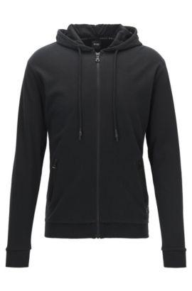 Zip-through hooded jacket in interlock cotton, Black